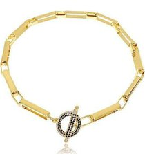 colar lys lazuli microzircônias pretas elo quadrados banhada ouro feminino - feminino