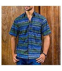 men's cotton batik shirt, 'oceanic voyager' (indonesia)