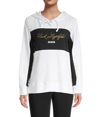 karl lagerfeld paris women's colorblock logo hoodie - white black - size xs