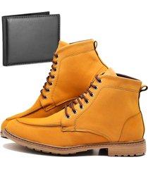 bota coturno adventure fashion com carteira dubuy 510el amarelo