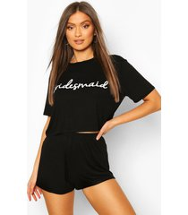 bruidsmeisjes t-shirt en shorts pyjama set, zwart
