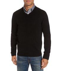 men's big & tall nordstrom cashmere v-neck sweater, size large - black