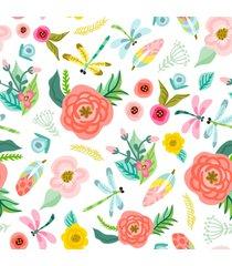 papel de parede flores e libã©lulas quarto feminino 57x270cm - multicolorido - dafiti
