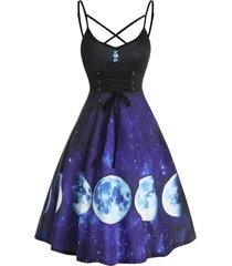 crisscross lace up starry moon print cami dress