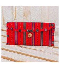 cotton jewelry case, 'crimson lines' (guatemala)