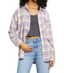 women's bp. boyfriend plaid button-up shirt, size large - purple