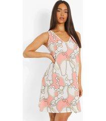 geweven kettingprint jurk, peach