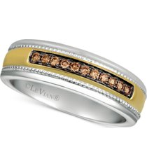 his by le vian men's diamond two-tone ring (1/5 ct. t.w.) in 14k gold & white gold