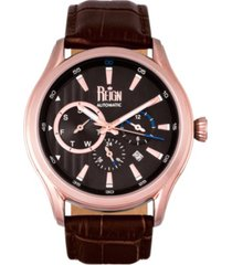 reign gustaf automatic black dial, genuine brown leather watch 43mm