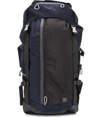 porter-yoshida & co buckled multi-pocket backpack - blue