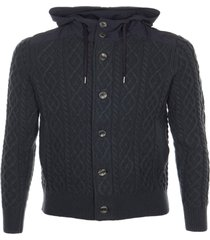 herno patterned knit buttoned jacket
