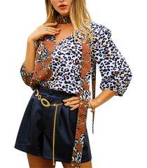 camicetta a maniche lunghe con scollo a v con scollo a v leopard