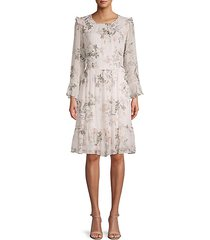 floral-print chiffon dress