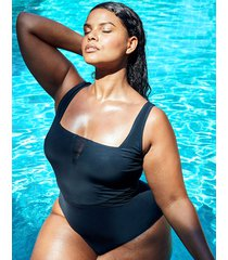 icon positano non-wired square neck mesh insert shaping one-piece swimsuit - curve