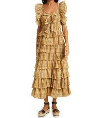 women's ulla johnson darcey check tiered ruffle midi dress, size 10 - yellow