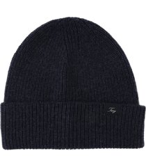 fay ribbed wool hat with logo patch