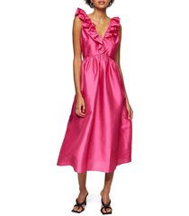 women's topshop taffeta a-line dress, size 8 us - pink