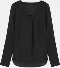 blusa pura in chiffon con collo v