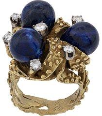 katheleys vintage 1970's 18kt unique lapis diamond ring - lapis blue