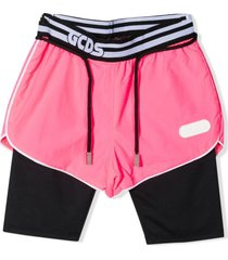 gcds pink and black shorts