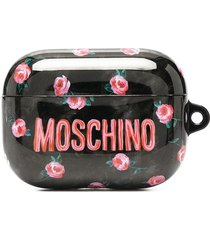 moschino floral logo print airpods pro case - black