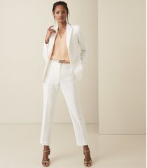 reiss ashby trouser - crepe slim fit trousers in white, womens, size 10
