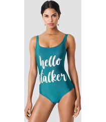 trendyol hello stalker swimsuit - green