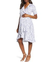 women's isabella oliver lullah ruffle wrap maternity dress, size 00 - white