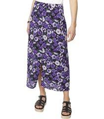 falda midi botones morado flores mujer corona