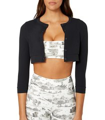 weworewhat women's cropped button-front cardigan - black - size m