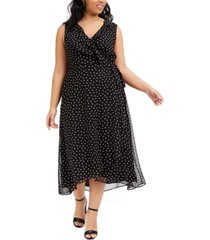 bar iii trendy plus size polka-dot midi dress, created for macy's