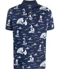 polo ralph lauren beach-print cotton polo shirt - blue