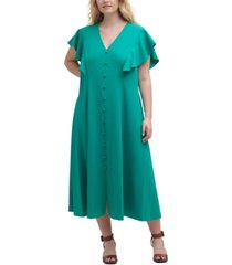 calvin klein plus size button-trim a-line dress