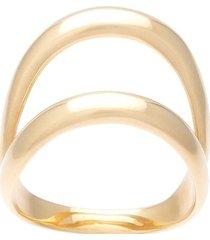 ana khouri 18kt gold double ring - metallic