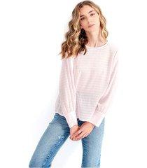 blusa para mujer cuello redondo, manga larga, tela fluida color-rosa-mag-talla-xl