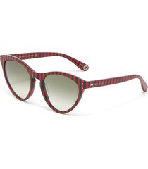 stripe acetate cat eye sunglasses