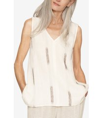 b new york printed v-neck sleeveless top