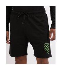 bermuda de moletom masculina esporte ace futebol com bolsos e cós com elástico preta