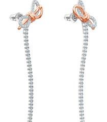 pendientes lifelong bow, blanco, combinación de acabados metálicos