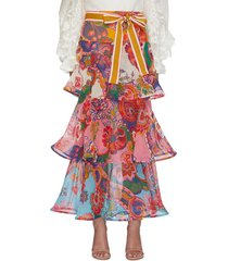 'the lovestruck' belted paisley floral graphic maxi flounce skirt