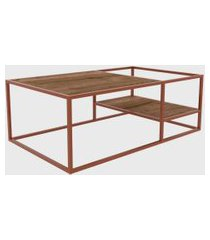 mesa de centro vermont/est. cobre artesano marrom