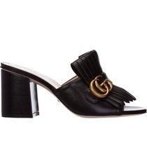 sabot scarpe donna in pelle doppia g