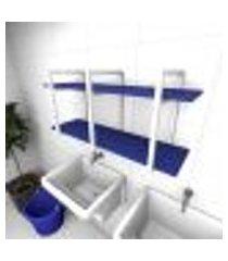 prateleira industrial para lavanderia aço branco mdf 30cm azul escuro modelo indb23azlav