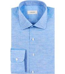 camicia da uomo su misura, canclini, azzurra cotone lino zephyr, primavera estate | lanieri