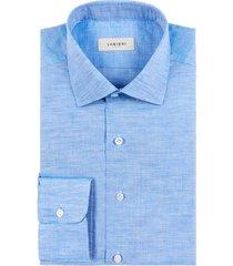 camicia da uomo su misura, canclini, azzurra cotone lino zephyr, primavera estate