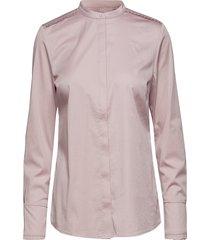 feminine fit shirt w. plisse grosgr overhemd met lange mouwen roze coster copenhagen