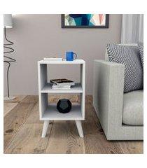 mesa de apoio linha retrô appunto 2 nichos branco appunto móveis