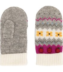 familiar intarsia knit apple motif mittens - grey