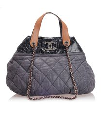 chanel in the mix lambskin leather satchel black, brown sz: l