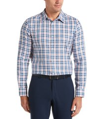 men's long sleeve slim fit multi check shirt